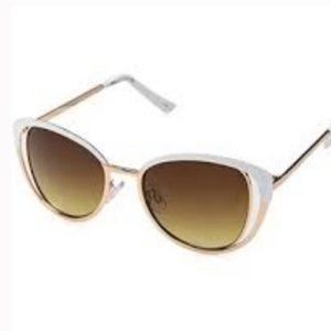 Nanette Lepore | White/Gold Cat Eye Sunglasses